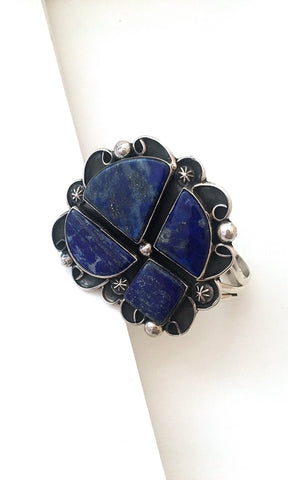 TRUE BLUE Navajo Four Lapis Stone & Sterling Cuff