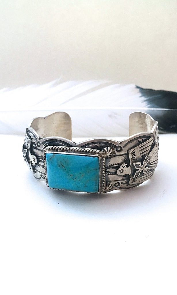 TURQUOISE ROCKS Turquoise & Sterling Navajo Cuff by Marcella James