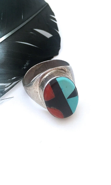 RING AROUND Vintage Turquoise, Jet & Coral Inlay Ring, Sz 11