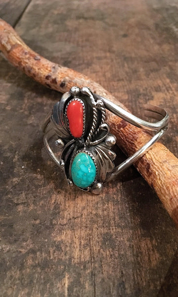 DOUBLE DECKER Coral, Turquoise, and Sterling Silver Cuff