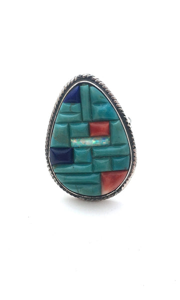 STONE IN LOVE Vintage Multi Stone Mosaic Inlay Ring