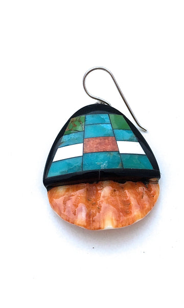 SANTO DOMINGO Spiny Oyster, Turquoise and Jet Mosaic Inlay Earrings