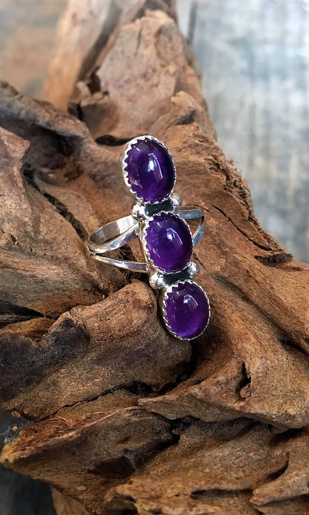 GRAPE EXPECTATIONS Triple Purple Amethyst & Sterling Silver Navajo Ring, SZ 8, 9, 10