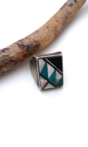 RING A DING Vintage Mens Turquoise Jet Mother of Pearl & Coral Inlay Ring, Sz 11 1/2