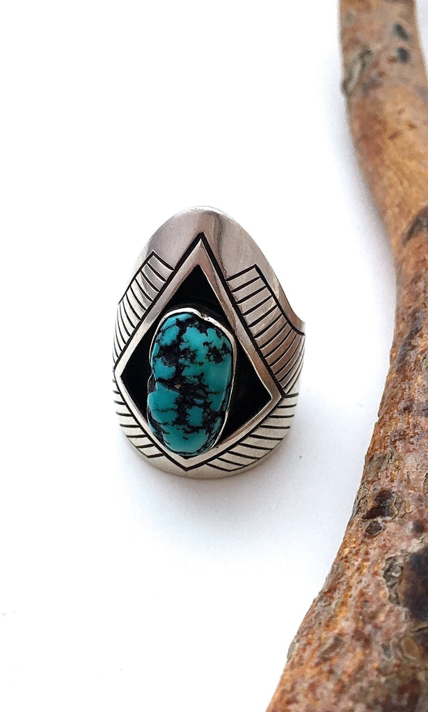 HOWARD NELSON Mens Silver & Turquoise Navajo Ring, Sz 10 1/2
