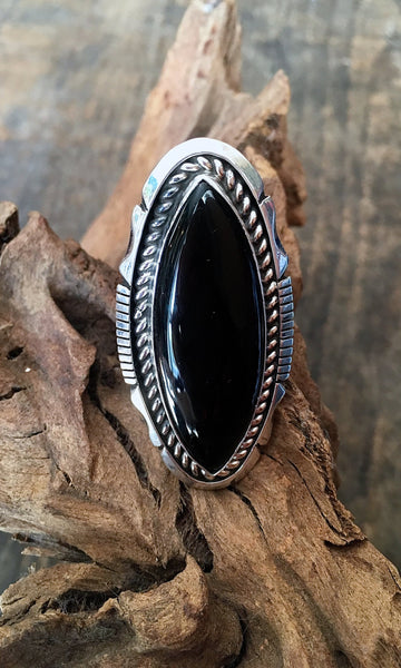 BLACK GOLD Navajo Silver & Onyx Statement Ring, Sz 8 1/2
