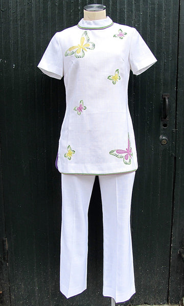 RESORT READY 1960s R&K Originals Butterfly Aplique Dead Stock Pants Set, Sz Small