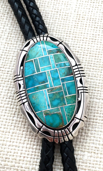 SOUTHWEST CHARMER Navajo Sterling Silver Turquoise Bolo Tie by Jerry Nelson