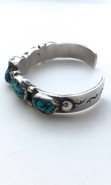 SOUTH BY SOUTHWEST Vintage Silver & Turquoise Nuggets Cuff