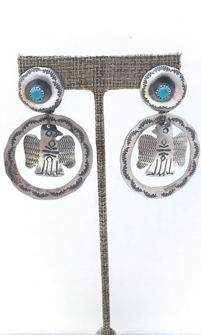 FRED HARVEY  Silver & Turquoise Thunderbird Hoop Earrings