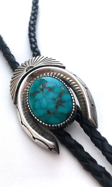 HORSE PLAY Vintage Navajo Silver and Turquoise Horseshoe Bolo Tie