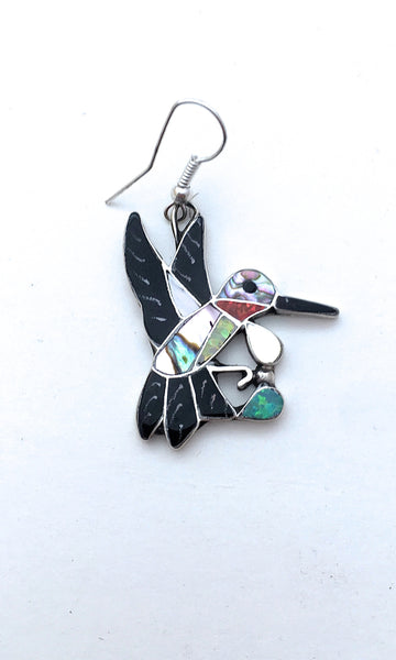 HUMMING ALONG Silver, Jet, Abalone, & Mother of Pearl Hummingbird Earrings
