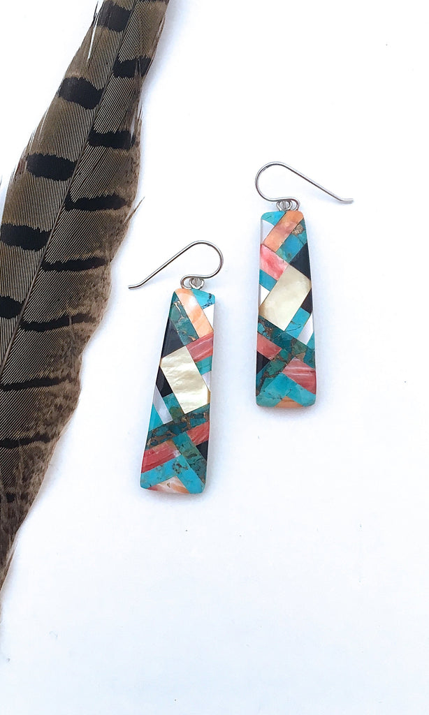 SANTO DOMINGO Spiny Oyster, Turquoise, MOP and Jet Mosaic Inlay Earrings