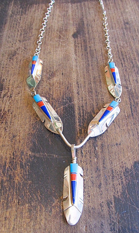 FEATHERED FRIEND Silver, Turquoise, & Spiny Oyster Necklace