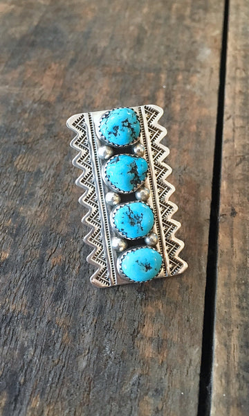 RING IT ON Large Navajo Turquoise and Silver Ring, Sz 7 1/2