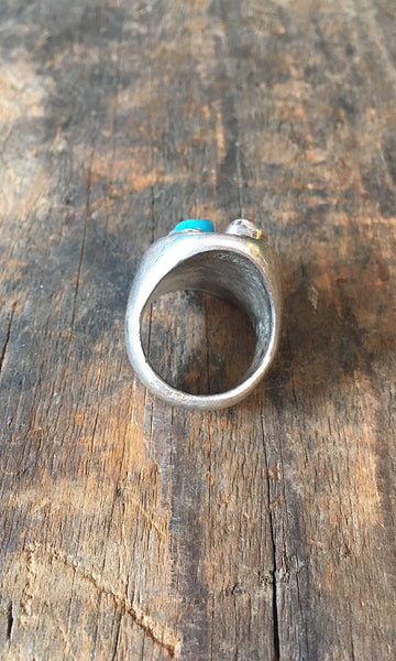RING TRUE Vintage 70s Sterling Silver Turquoise and Coral Mens Ring, Size 9 1/2