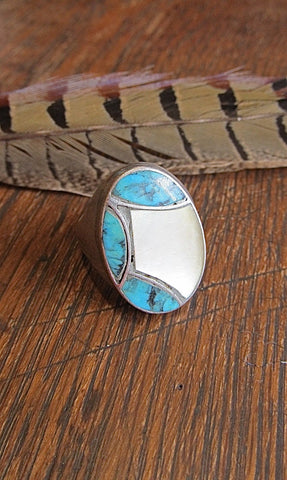 CECIL C LEE Vintage Silver, Turquoise, and Mother of Pearl Mens Ring, Sz 11