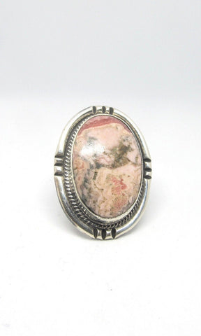 STONE IN LOVE Chimney Butte Pink Jasper & Silver Ring, Sz 10