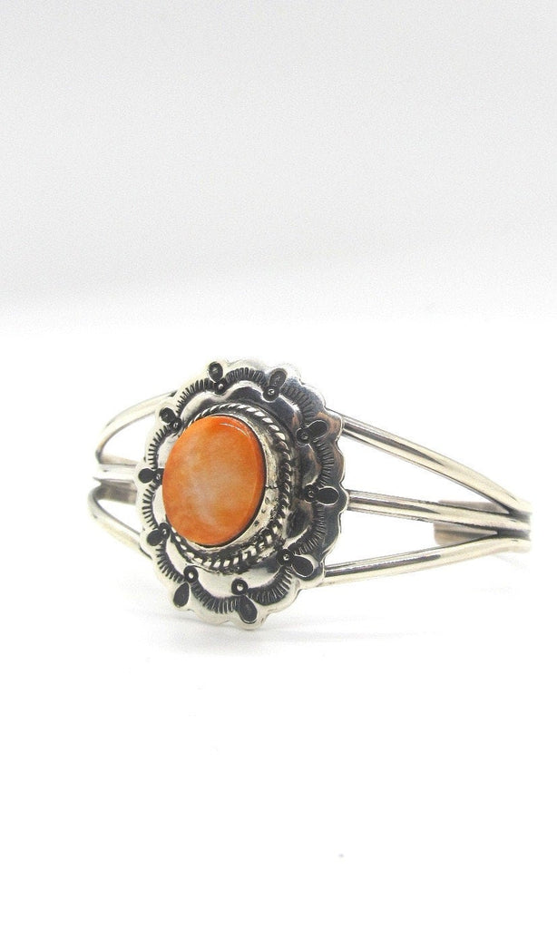 ORANGE ZEST Spiny Oyster Shell & Sterling Silver Concho Cuff