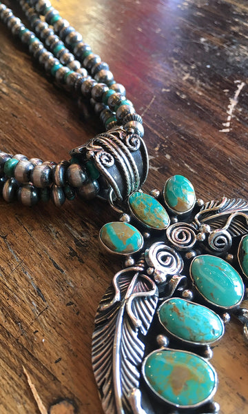 SOUTHWEST CHARMER Navajo Feather Naja Pendant on Silver & Turquoise Pearl Necklace