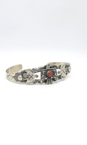 THUNDERBIRD L James Sterling Silver & Coral Hand Stamped Thunderbird Bracelet, Fred Harvey Style