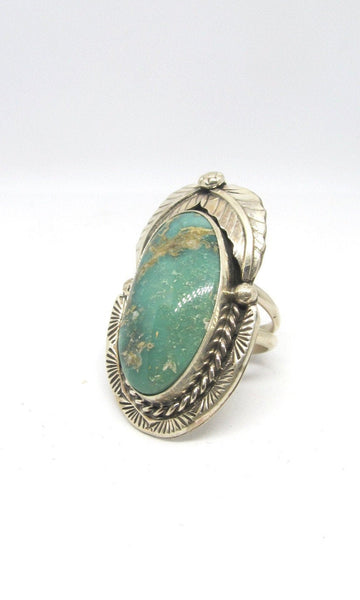 RING IT ON Navajo Turquoise & Silver Feather Ring, Sz 8