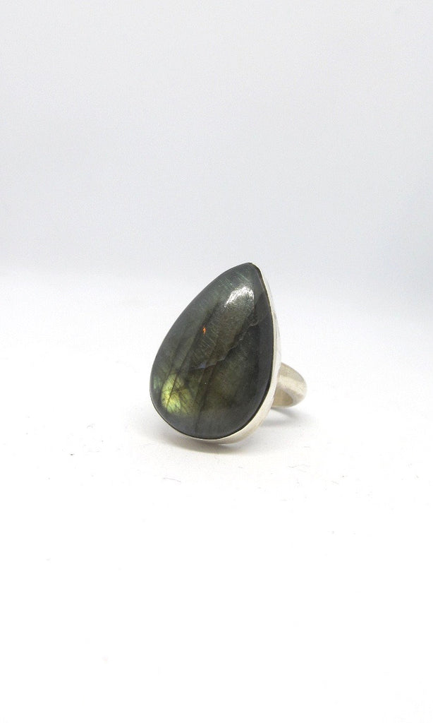 MAGICAL POWERS Chimney Butte Large Teardrop Labradorite Sterling Silver Ring, Size 8 1/4