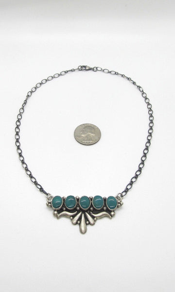HANG FIVE Sterling Silver and Turquoise Sandcast Pendant Necklace by E Richards