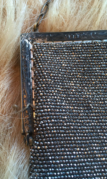 HEAVY METAL 1920s Large French Steel Diamond Cut Beaded Purse