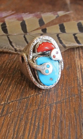 SNAKE CHARMER Zuni Silver, Turquoise, and Coral Chunky Mens Ring, Sz 11 1/4