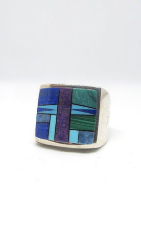 TOUCH OF SANTA FE Massive Mosaic Turquoise, Lapis, Charoite Inlay & Silver Ring, Sz 12.5