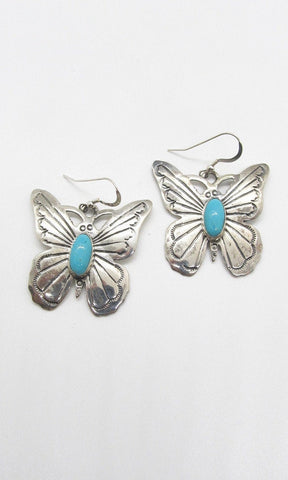 RUSSELL SAM Navajo Butterfly Sterling Silver and Turquoise Earrings