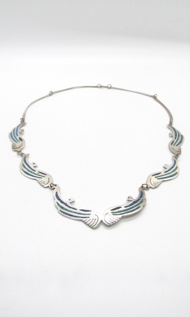 BIRDS OF A FEATHER 1970s Mexican Alpaca Silver, Blue Lapis, & Green Turquoise Inlay Necklace