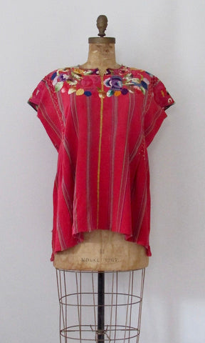 NICE FOLK 1970s Embroidered Guatemalan Frida Kahlo Style Huipil, Size Medium