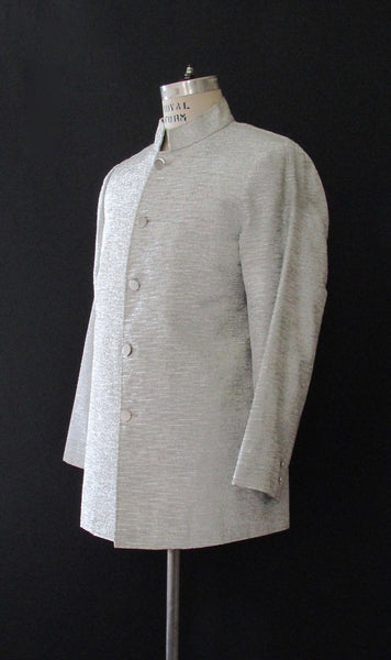 SPARKLE PLENTY 1960s Renoir Metallic Lurex Nehru Jacket, Size Mens Medium