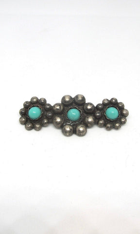 SILVER LINING 1930s Silver Floral Beaded Bar Pin with Turquoise Color Beads