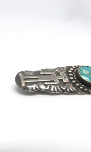 FRED HARVEY ERA 1930s Coin Silver & Turquoise Stamped Bar Brooch