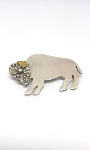 BUFFALO GAL  1990s TM-140 Mexican 925 Sterling Silver and Brass American Bison Brooch