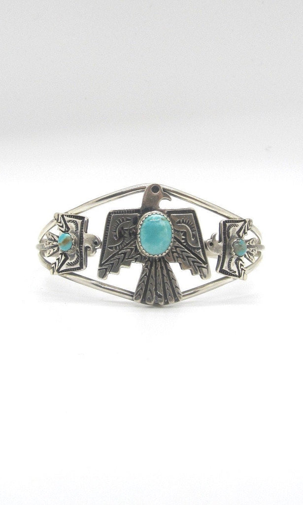THUNDERBIRD Native American Sterling Silver & Turquoise Thunderbird Cuff Signed Sterling GRHE H