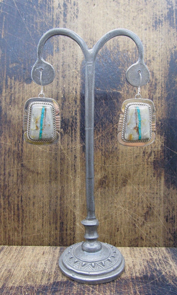 LUCKY STRIPE Navajo Silver & Boulder Ribbon Turquoise Earrings