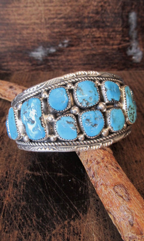 HEAVY METAL Navajo Turquoise Nugget and Sterling Silver Cuff