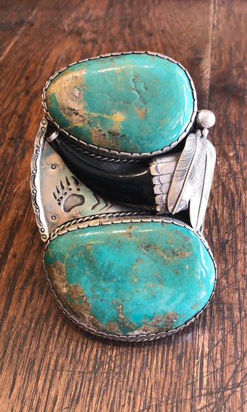 SUPER SIZE ME 1970s Two Feathers Turquoise & Silver Cuff