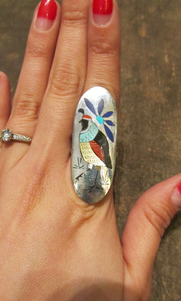 BIRD WATCHER Quail Bird and Flower Large Inlay Silver Ring, Sz 7