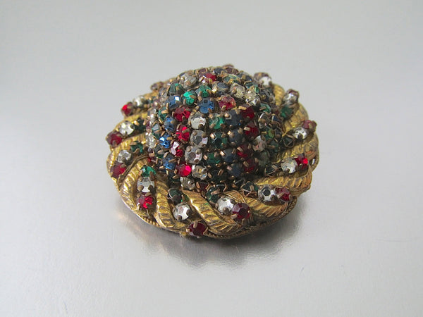MIRIAM HASKELL Vintage 50s Brooch | 1950s Gold Tone Rhinestones Cluster Pin | Red, Green, Clear Stones | Designer Signed Jewelry, Handmade