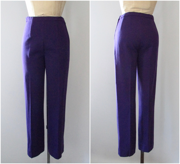 PURPLE REIGN Space Age 60s Double Knit Jeweled Top and Pants Set, Medium