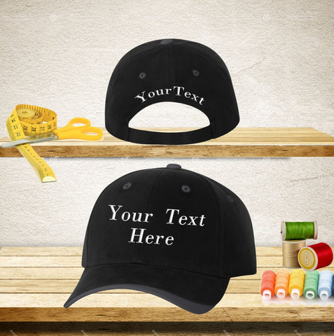 Your Text Custom Embroidered on Baseball Hat Personalized Word 100% Cotton Cap No minimum