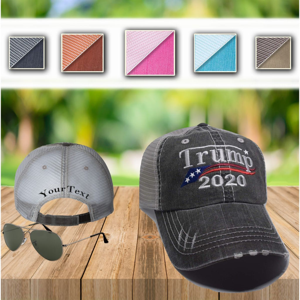 d4c2c905e Trump 2020 Mesh Trucker Hat Unstructured Distressed 6 panel Vintage Custom  MAGA Cap Embroidered in USA