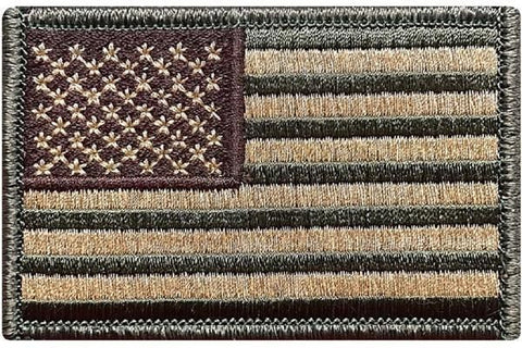 V1 TACTICAL USA FLAG PATCH Hook Fastener Backing (Multitan) *Made in USA (Premade)