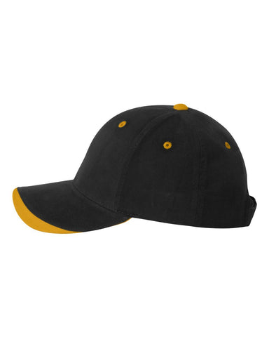C31 Embroidered Custom Caps Two Tone Black / Gold Color Text or Logo No Minimum 100% Cotton Six Panel Structured Quality Hat