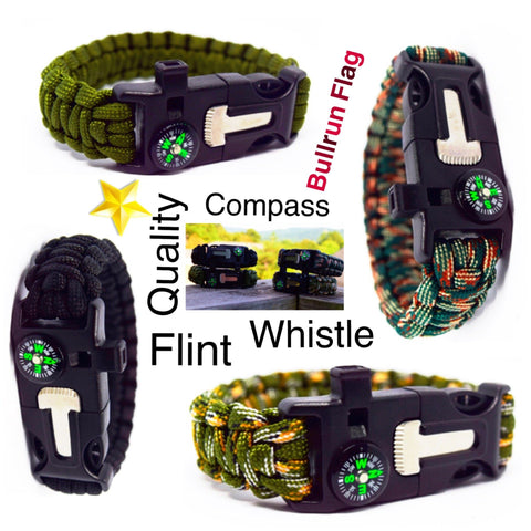 6 in 1 Survival Wilderness Bracelet |Flint, Compass, Whistle, Fire Starter, Scraper/knife, Strong Paracord Hook|
